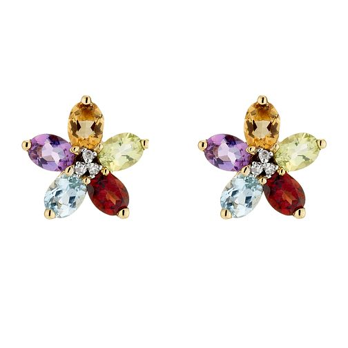 9ct yellow gold mixed coloured flower stud earrings - Product number 6864511