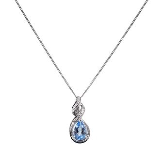 9ct White Gold Blue Topaz Diamond Drop Pendant - Product number 6864724