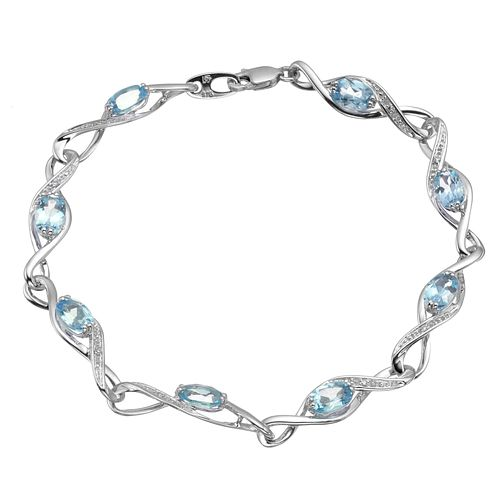 9ct white gold diamond and blue topaz bracelet - Product number 6864791