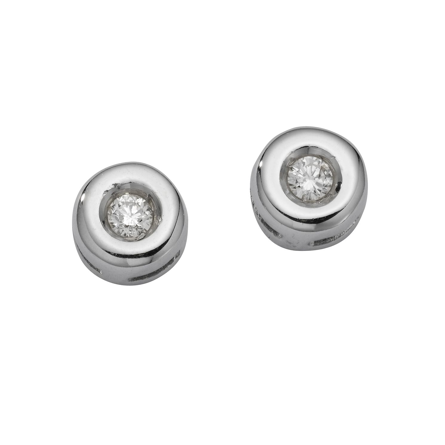 9ct White Gold Diamond Stud Earrings - Product number 6864929