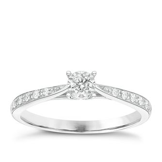 9ct White Gold 0.16ct Total Diamond Ring - Product number 6889638