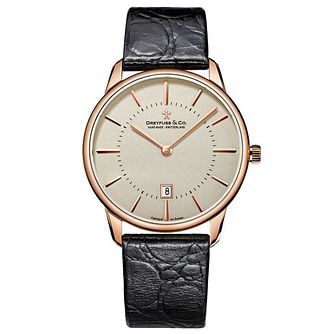 Dreyfuss & Co Men's Black Leather Strap Watch - Product number 6890105