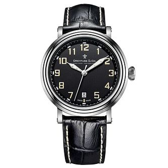 Dreyfuss & Co Men's Black Leather Strap Watch - Product number 6890164