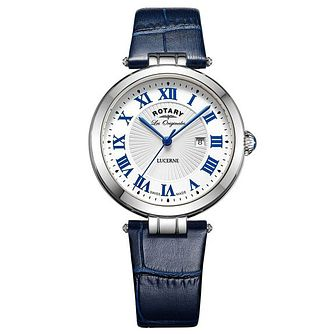 Rotary Ladies' Stainless Steel Blue Leather Strap Watch - Product number 6892132