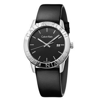 Calvin Klein Ladies' Black Leather Strap Watch - Product number 6892477