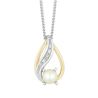 Silver and 9ct Gold Pearl and Diamond Pendant - Product number 6892647