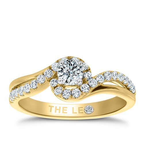 Leo Diamond 18ct Yellow Gold 1/2ct II1 Diamond Halo Ring - Product number 6898734