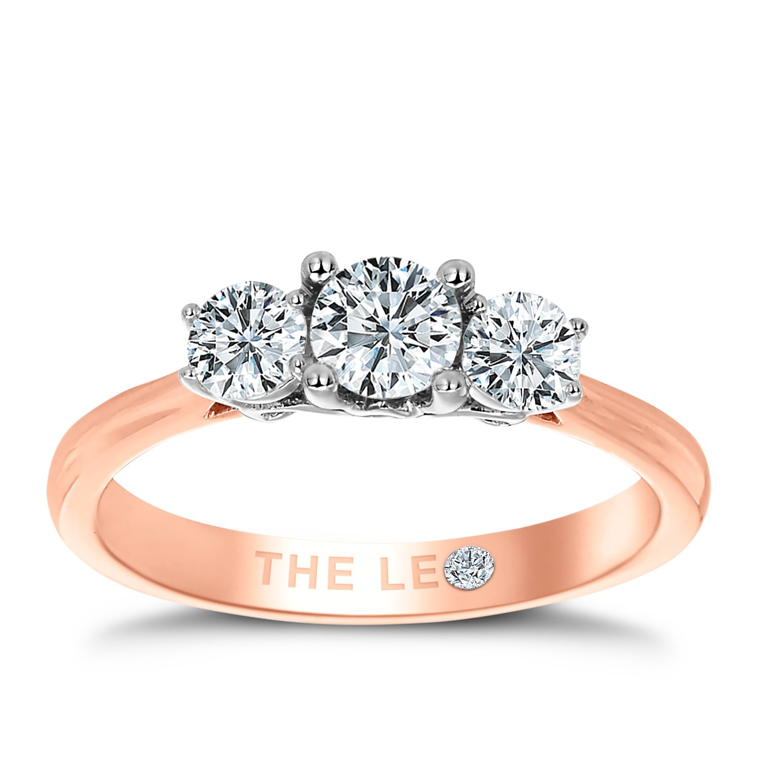Leo Diamond 18ct Rose Gold 3 Stone 3/4ct Ii1 Diamond Ring - Product number 6899129