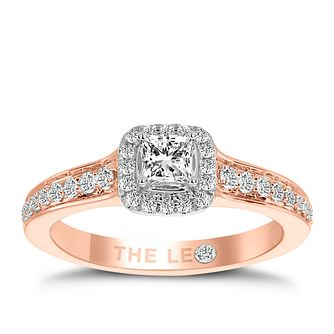 Leo Diamond 18ct Rose Gold 1/2ct Ii1 Diamond Halo Ring - Product number 6901522