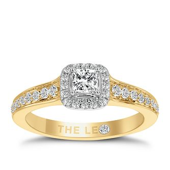 Leo Diamond 18ct Yellow Gold 1/2ct Ii1 Diamond Halo Ring - Product number 6901913