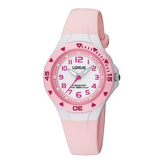 Lorus Children's White Dial Pink Rubber Strap Watch - Product number 6907946