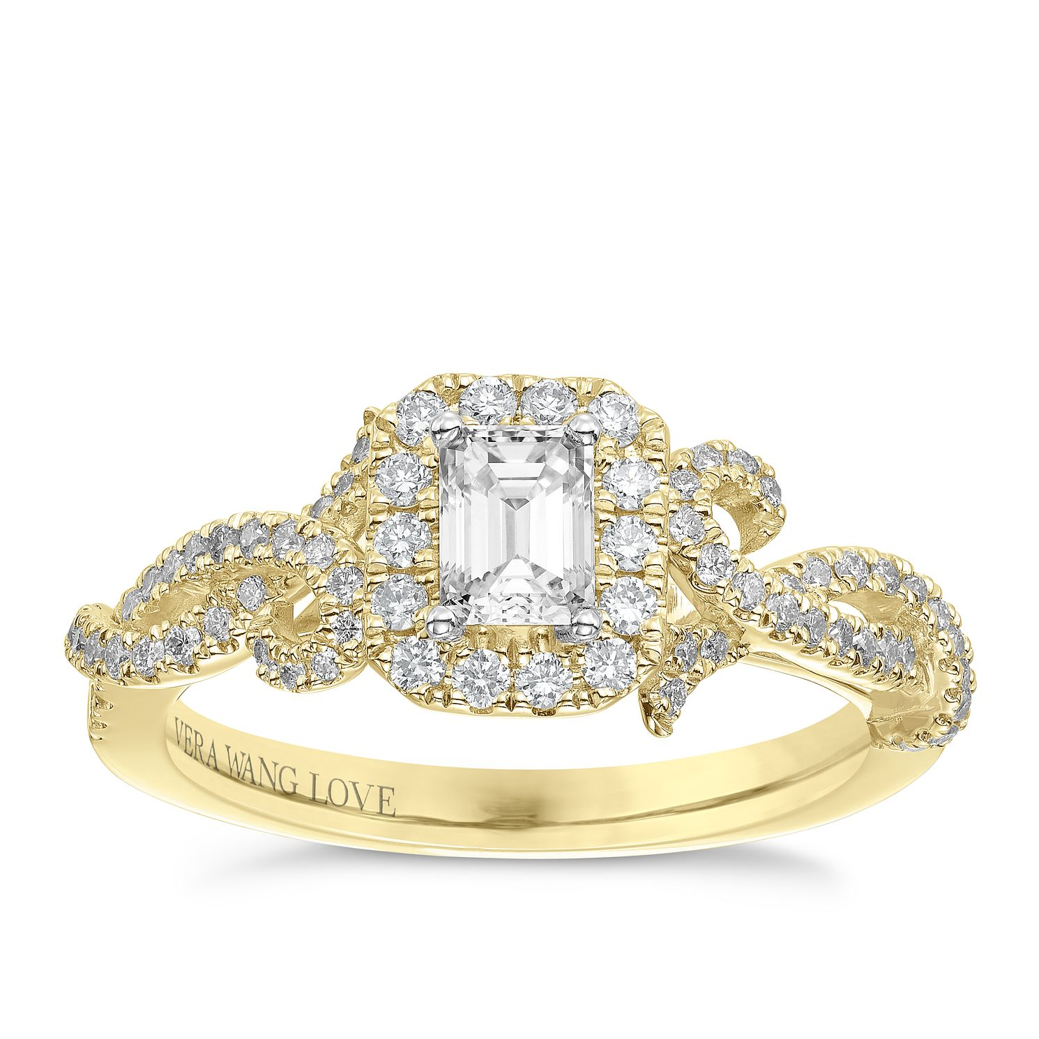 Vera Wang 18ct Yellow Gold 0.70ct Diamond Halo Ring - Product number 6910602