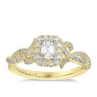 Vera Wang 18ct Yellow Gold 0.70ct Total Diamond Halo Ring - Product number 6910602