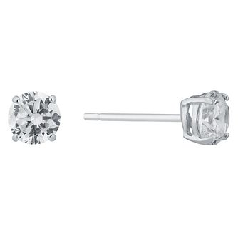 9ct white gold 4mm cubic zirconia stud earrings - Product number 6912869