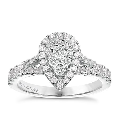 Vera Wang Platinum 0.70ct Diamond Pear Cluster Ring - Product number 6914160