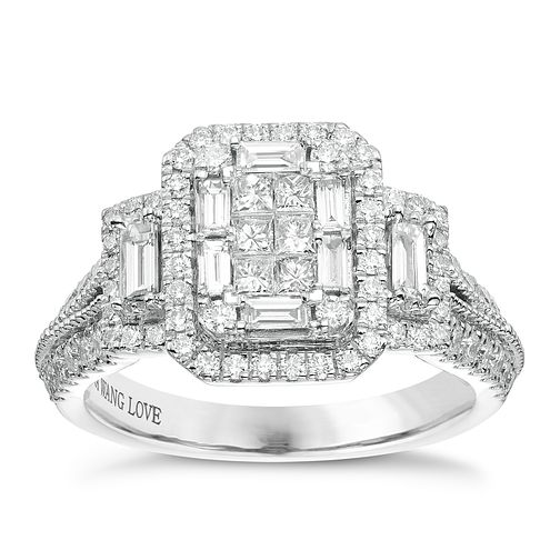 Vera Wang Platinum 0.95ct Diamond Cluster Ring - Product number 6914438