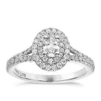 Vera Wang Platinum 0.75ct Diamond Double Halo Ring - Product number 6914551