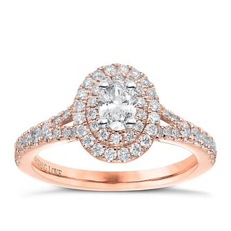 Vera Wang 18ct Rose Gold 0.75ct Total Diamond Halo Ring - Product number 6914810