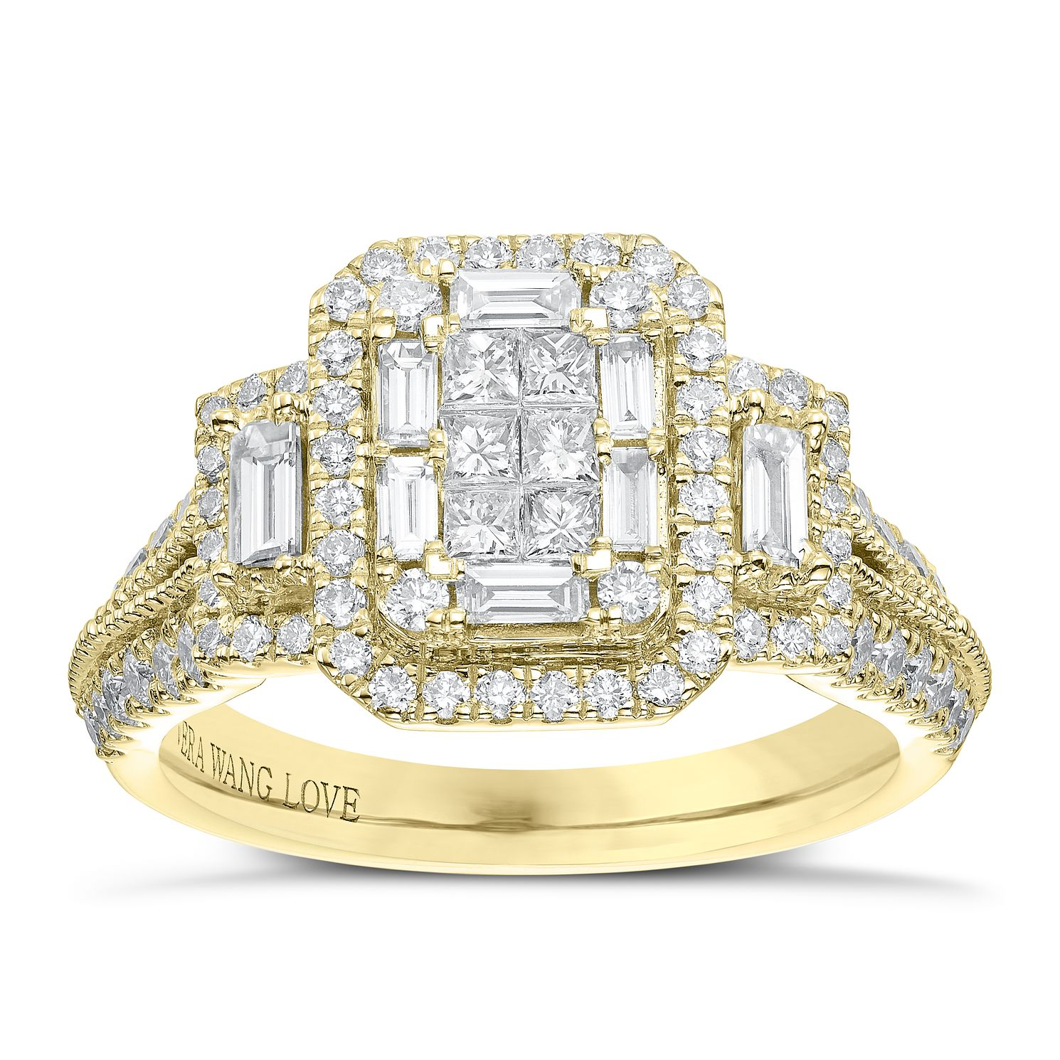 Vera Wang 18ct Yellow Gold 0.95ct Total Diamond Cluster Ring - Product number 6915205