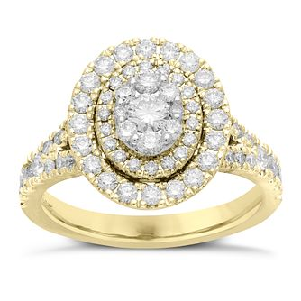 Neil Lane 14ct Yellow Gold 1.18ct Oval Double Halo Ring - Product number 6932509