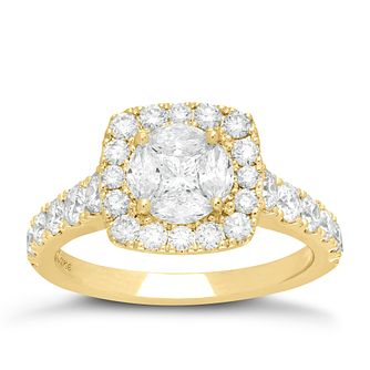 Neil Lane 14ct Yellow Gold 1.72ct Diamond Halo Cluster Ring - Product number 6933297
