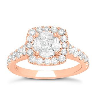 Neil Lane 14ct Rose Gold 1.72ct Diamond Halo Cluster Ring - Product number 6933424