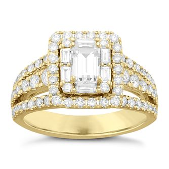 Neil Lane 14ct Yellow Gold 1.74ct Diamond Halo Ring - Product number 6933947
