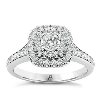 The Diamond Story Platinum 0.50ct Diamond Halo Ring - Product number 6939163