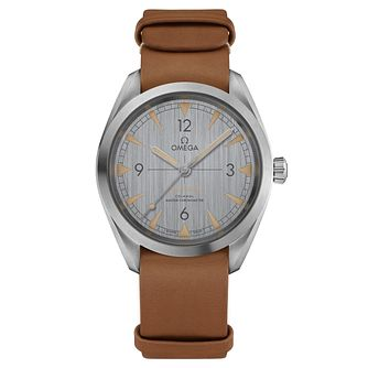 Omega Railmaster Men's Brown Leather Strap Watch - Product number 6939872