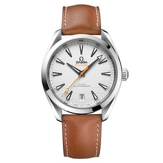 Omega Seamaster Aqua Terra Men's Tan Leather Strap Watch - Product number 6939880