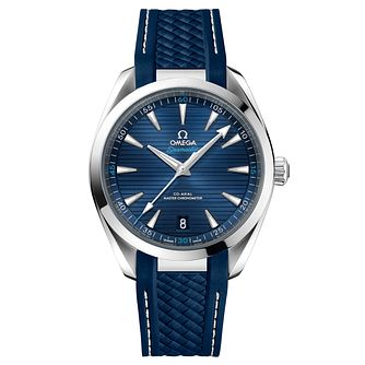 Omega Seamaster Aqua Terra Men's Blue Rubber Strap Watch - Product number 6939902