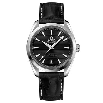 Omega Seamaster Aqua Terra Men's Black Leather Strap Watch - Product number 6939910