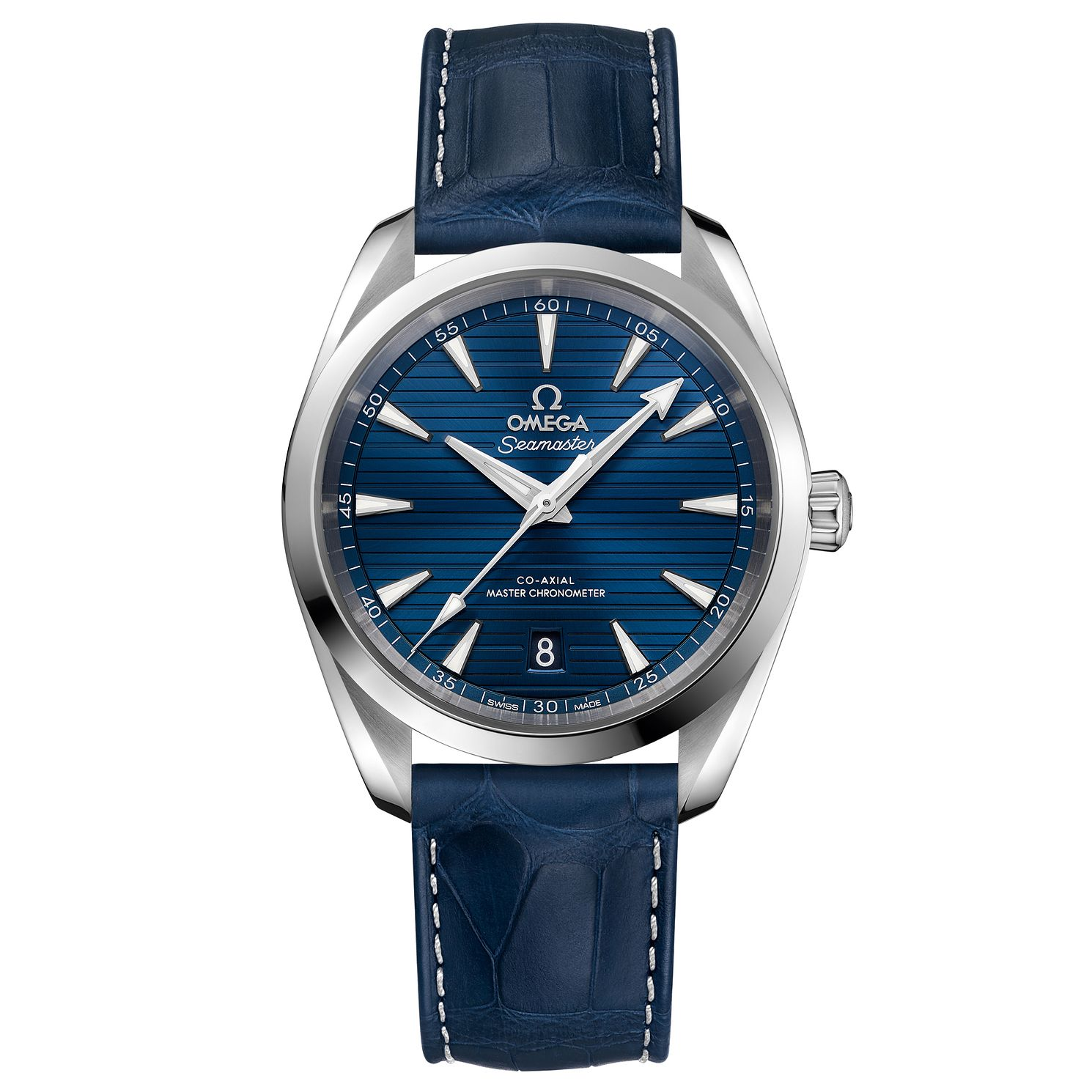 Omega Seamaster Aqua Terra Men's Blue Leather Strap Watch - Product number 6939929