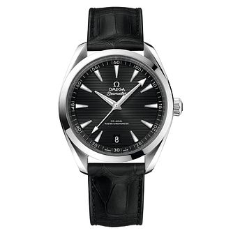 Omega Seamaster Aqua Terra Men's Black Leather Strap Watch - Product number 6939937