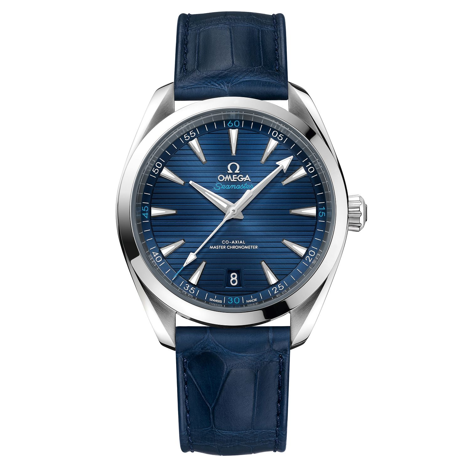 Omega Seamaster Aqua Terra Men's Blue Leather Strap Watch - Product number 6939945