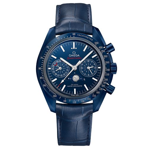 Omega Speedmaster Moonphase Men's Blue Leather Strap Watch - Product number 6940056