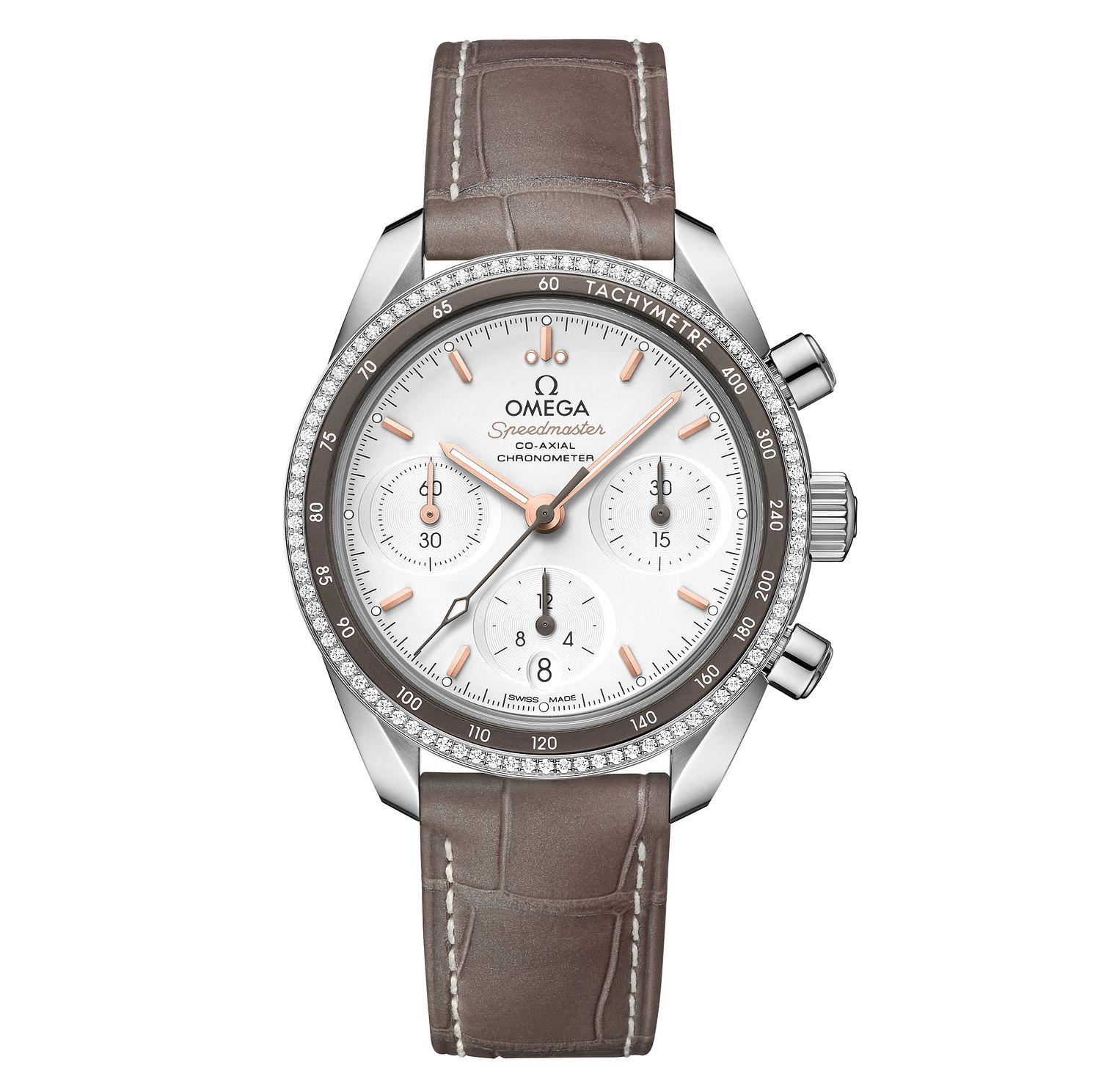 Omega Speedmaster Men's Diamond Brown Leather Strap Watch - Product number 6940145