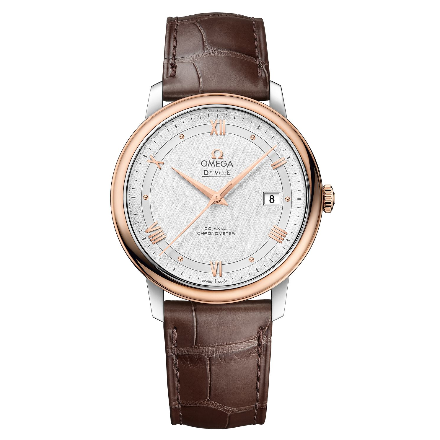 Omega De Ville Men's Rose Gold Brown Leather Strap Watch - Product number 6940242
