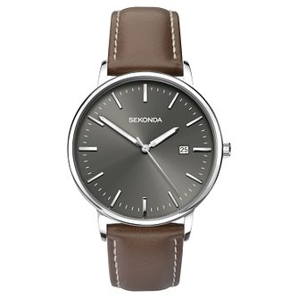 Sekonda Men's Brown Leather Strap Watch - Product number 6944663