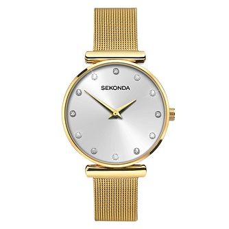 Sekonda Ladies' Gold-Plated Stainless Steel Mesh Watch - Product number 6944965