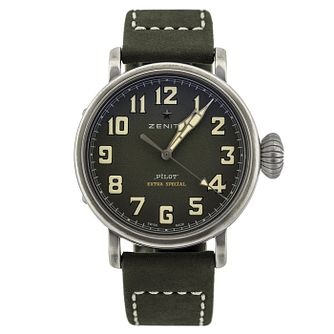 Zenith Pilot Men's Stainless Steel Dark Green Strap Watch - Product number 6947638