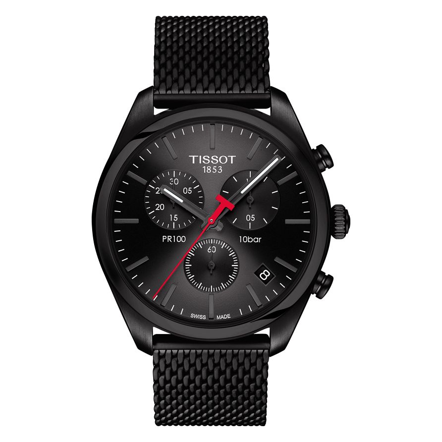 Tissot Pr100 Men's Stainless Steel Black Chronograph Watch - Product number 6952968