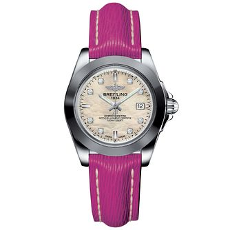 Breitling Galactic 32 Ladies' Diamond Pink Strap Watch - Product number 6955037