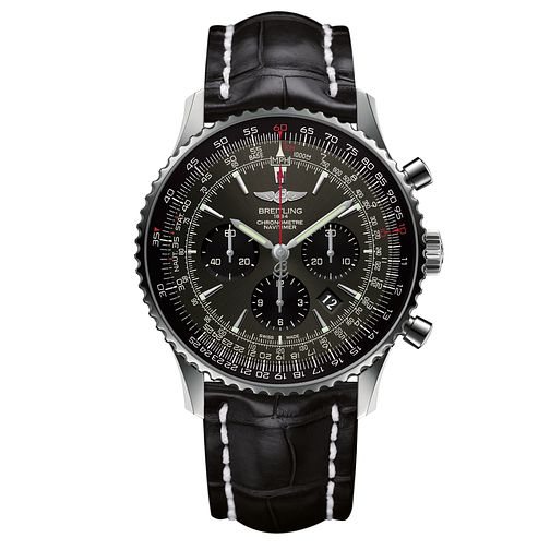 Breitling Navitimer 01 Men's Black Leather Strap Watch - Product number 6955096