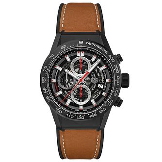 TAG Heuer Carrera Men's Ceramic Leather Strap Watch - Product number 6956556