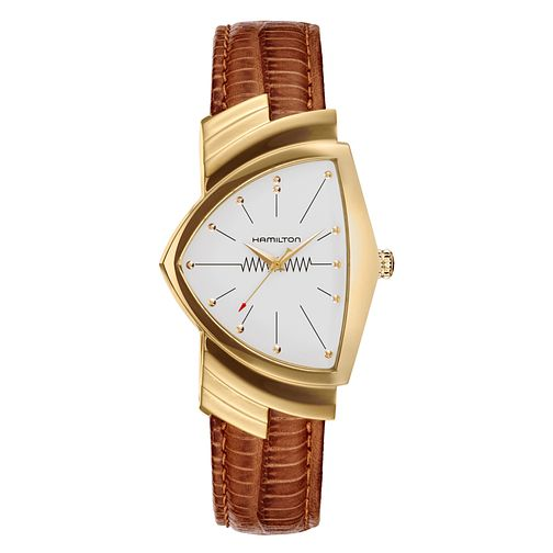 Hamilton Ventura Men's Yellow Gold Plated Strap Watch - Product number 6956882