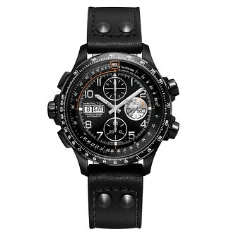 Hamilton Khaki Aviation Men's Black Chronograph Strap Watch - Product number 6956998