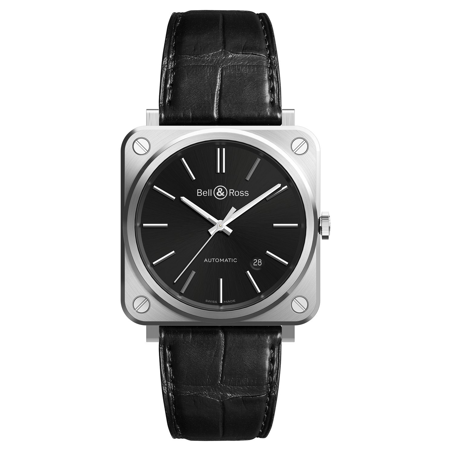 Bell & Ross BRS-92 Men's Stainless Steel Black Strap Watch - Product number 6957110