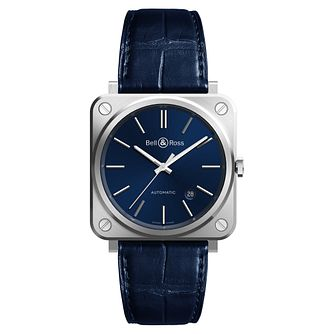 Bell & Ross BRS-92 Men's Stainless Steel Blue Strap Watch - Product number 6957129