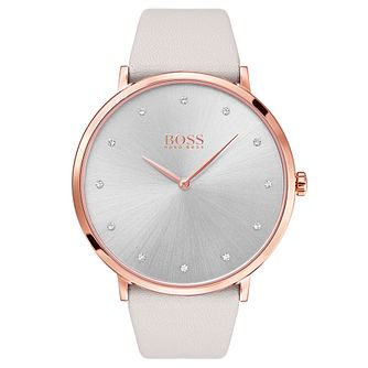 BOSS Jillian Rose Gold Plated Stone Set Strap Watch - Product number 6957323